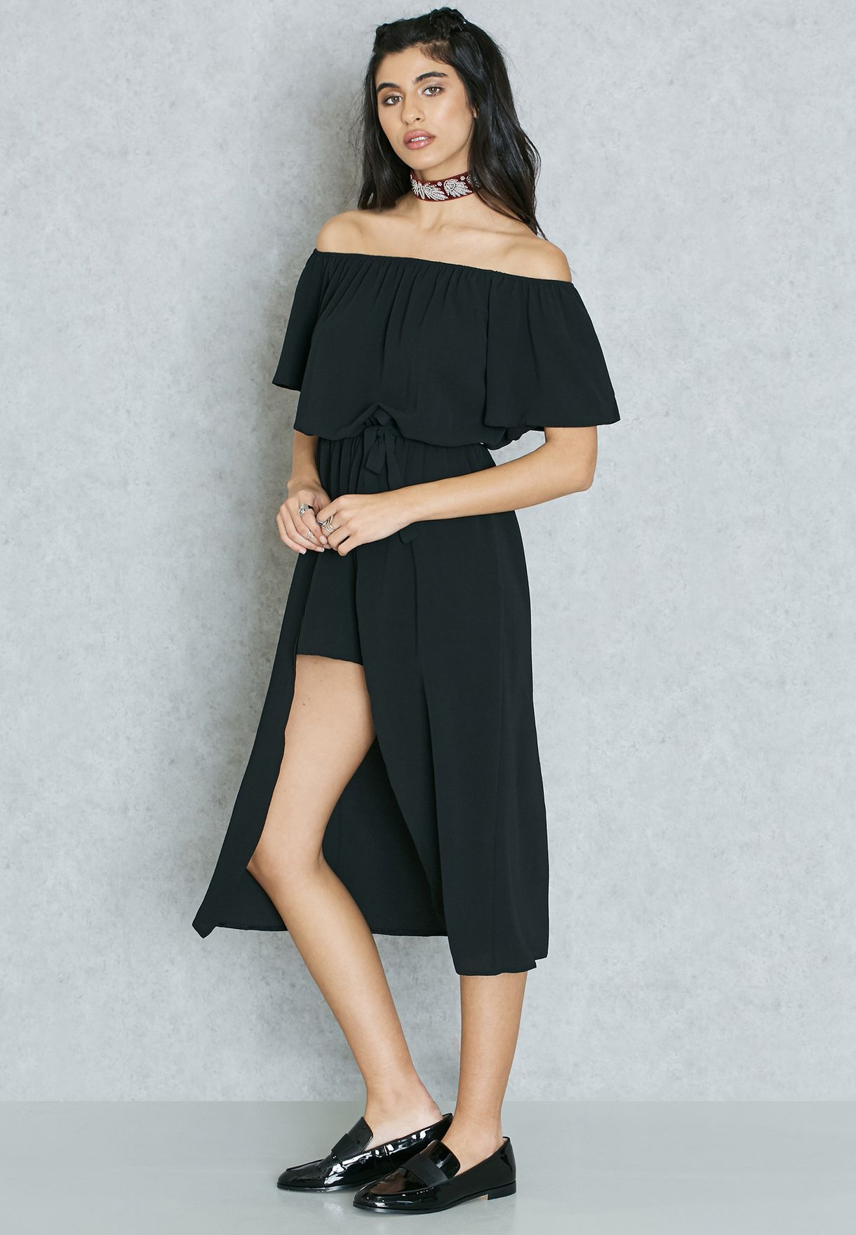 b17a6d42c5 Shop Never Fully Dressed black Bardot Playsuit for Women in Kuwait ...