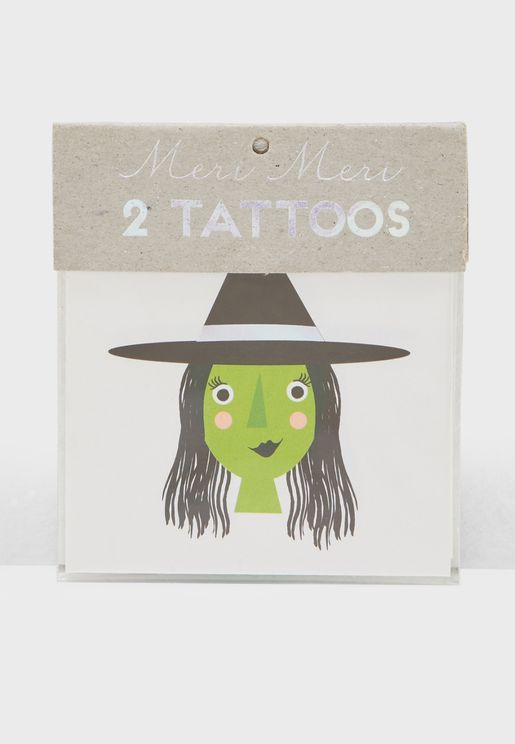 Kids 2 Pack Witch and Cat Temporary Tattoos
