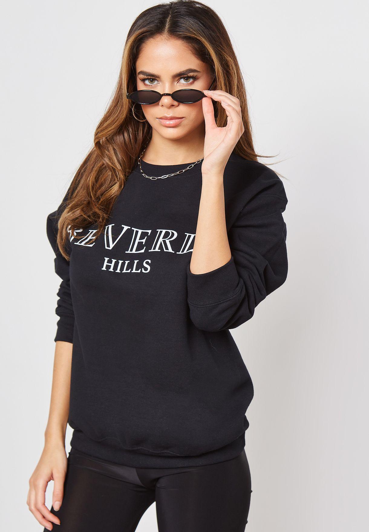 Oversized Beverly Hills Slogan Sweatshirt