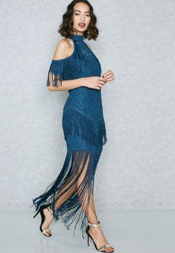 Lace Cold Shoulder Fringe Dress