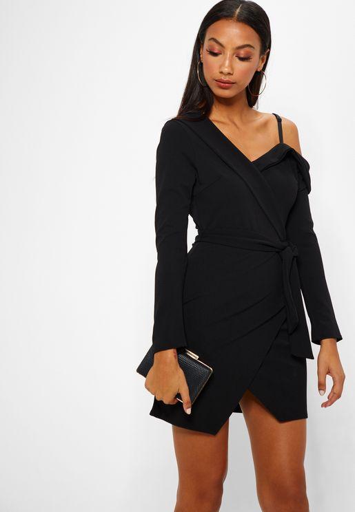 One Shoulder Belted Mini Dress