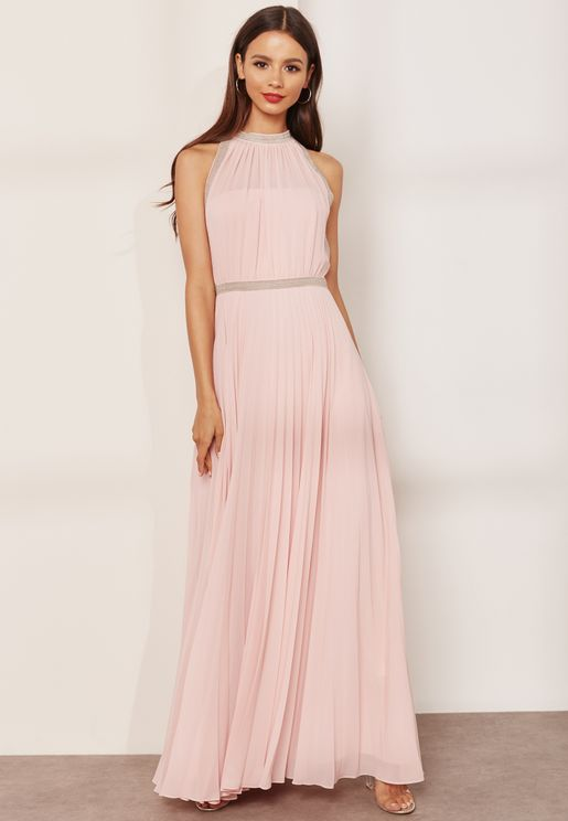 Me Samantha Embellished Detail Pleated Maxi Dress