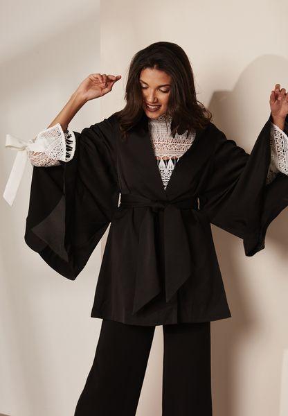 Wide Sleeve Belted Cape