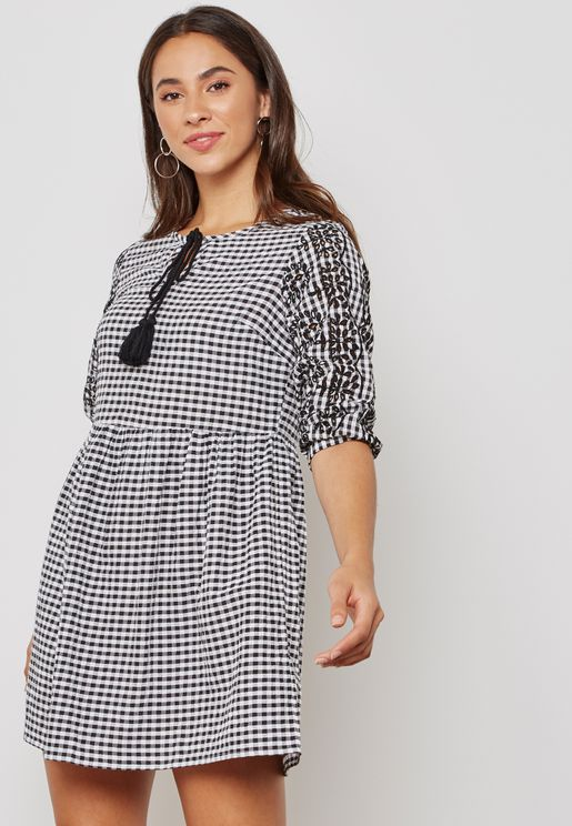 Key hole Neck Broidery Sleeve Gingham Dress