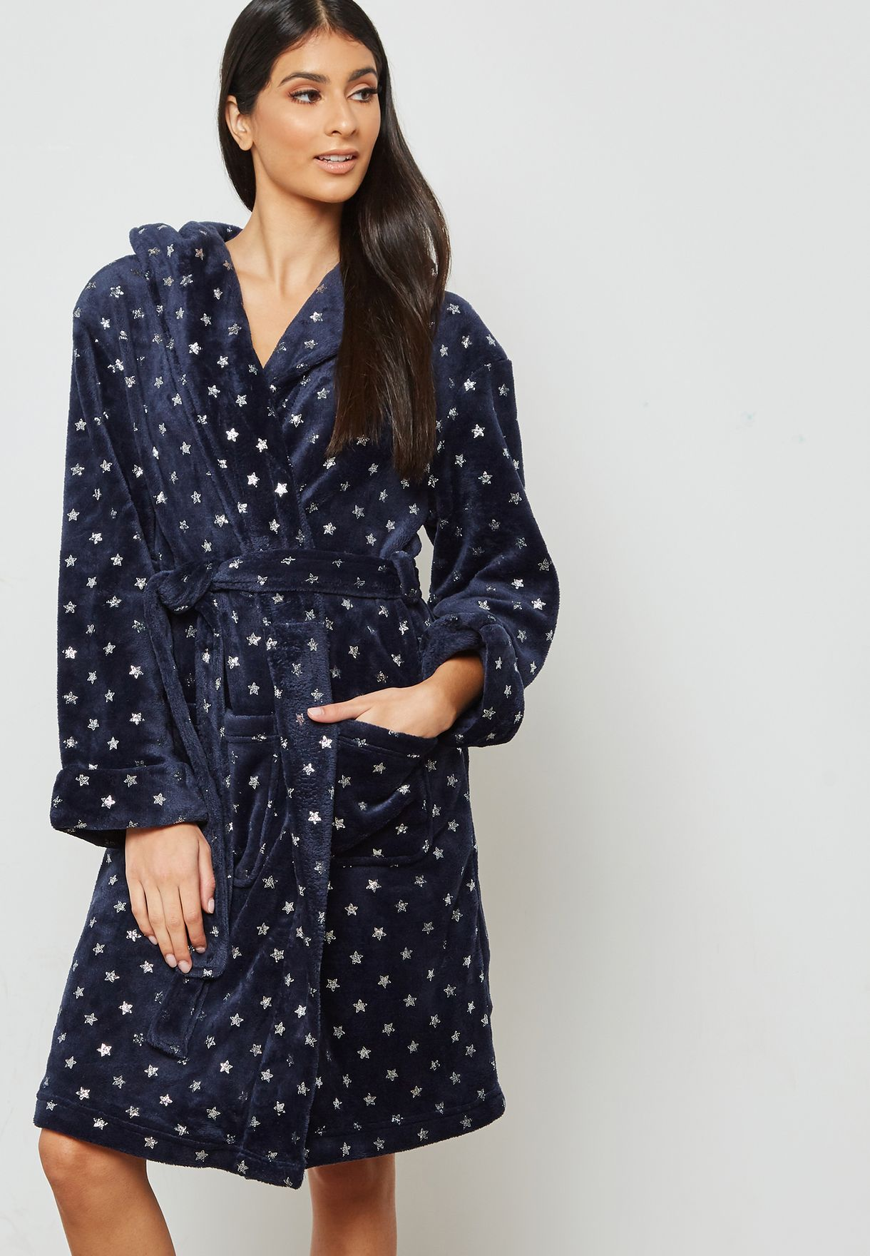5b060e7577 Shop Dorothy Perkins navy Star Print Belted Hooded Robe 33125430 for Women  in Qatar - DO860AT57DGO