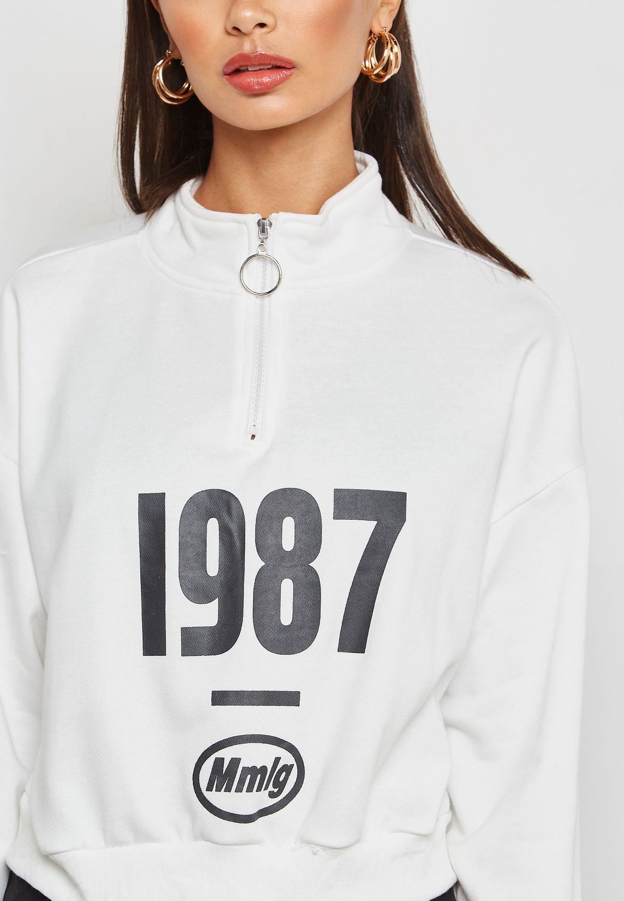 Varsity Zip Neck Sweatshirt