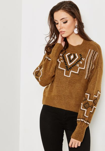 Cuffed Sleeve Embroidered Sweater