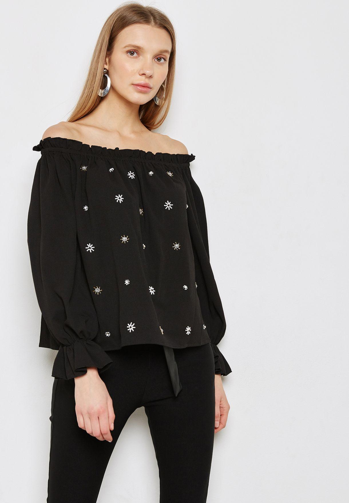 1d9c0717fd1b7e Shop Dorothy Perkins black Embellished Detail Bardot Top 05666210 for Women  in Bahrain - DO860AT57VAC