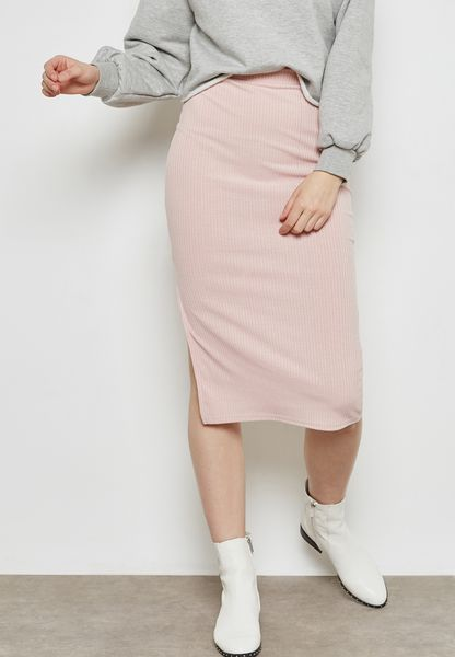 Ribbed Side Slit Pencil Skirt