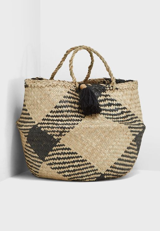 Woven Basket With Tassel