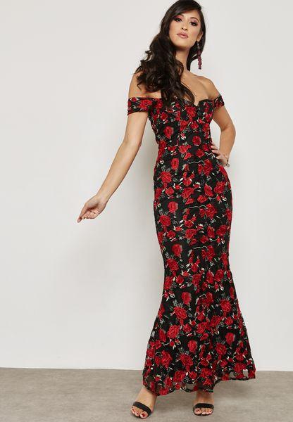 Back Split Floral Print Maxi Dress