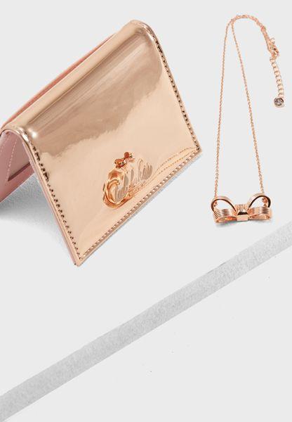 Oyster Cardholder + Necklace Gift Set