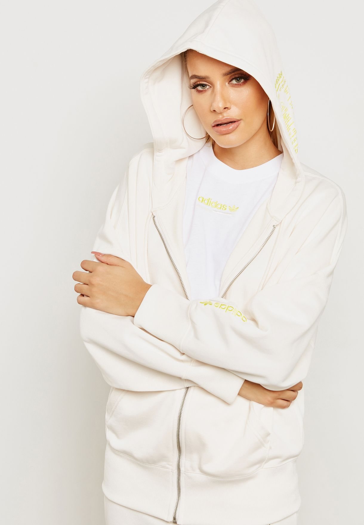 318e91dcc284 Shop adidas Originals white Kaval Hoodie DN5585 for Women in Kuwait ...