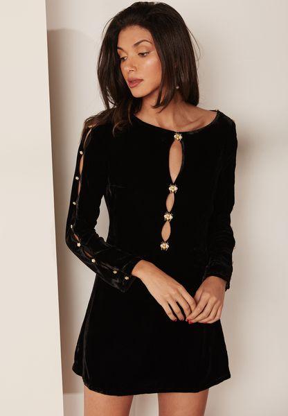 Button Detail Velvet Dress