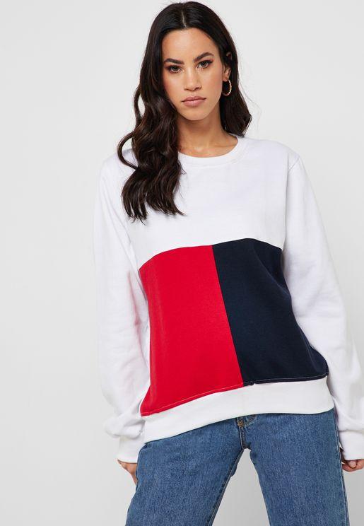 Colourblock Cropped Sweatshirt