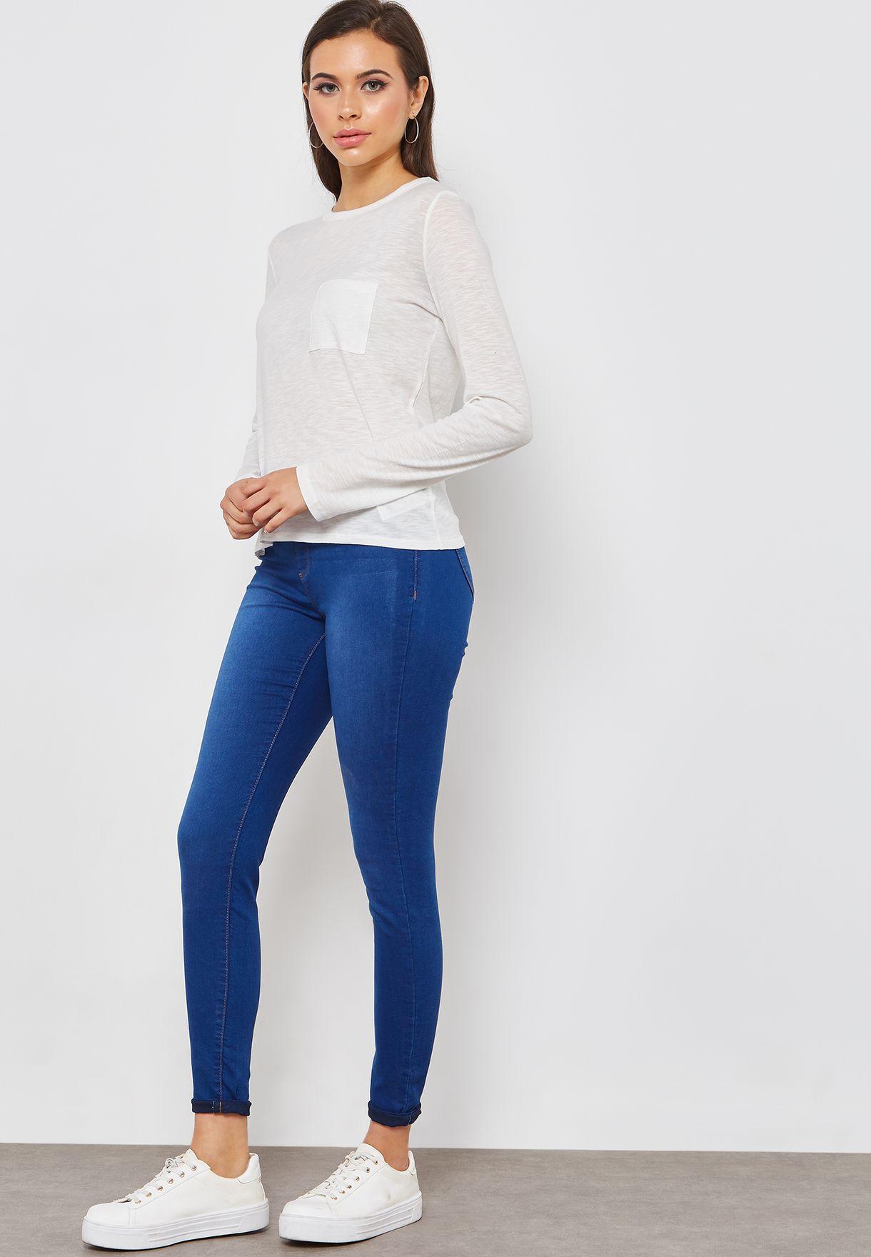 8a6a9763d تسوق بنطال جينز بخصر مطاطي ماركة دوروثي بيركنز لون أزرق 70533919 في ...