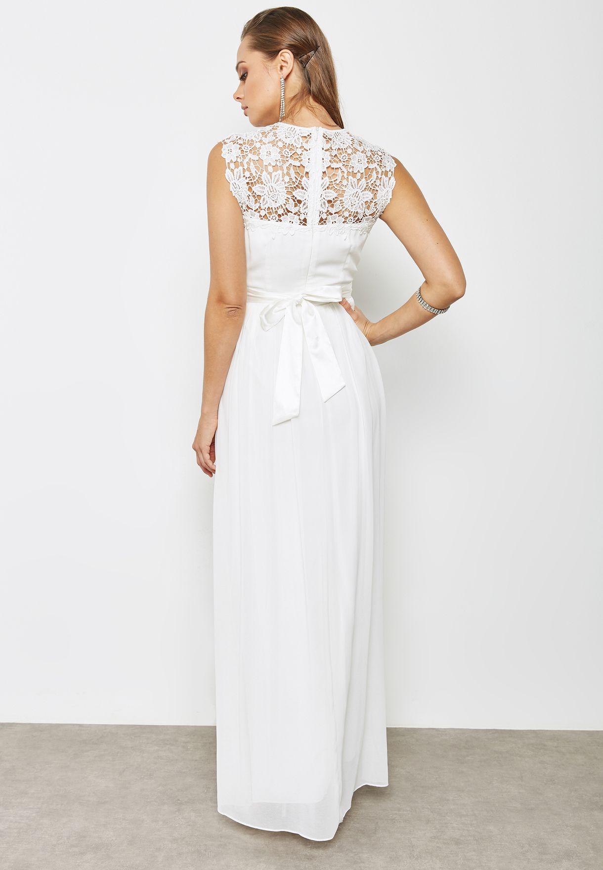 Lace Detail Bridal Maxi Dress