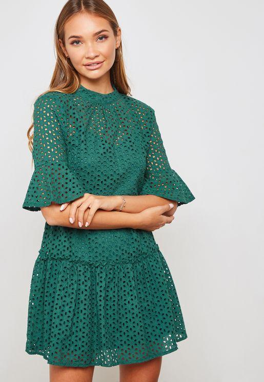 Laser Cut Layered Dress