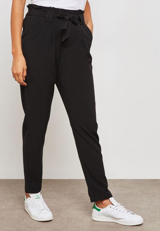 Ruffle Waist Belted Pants