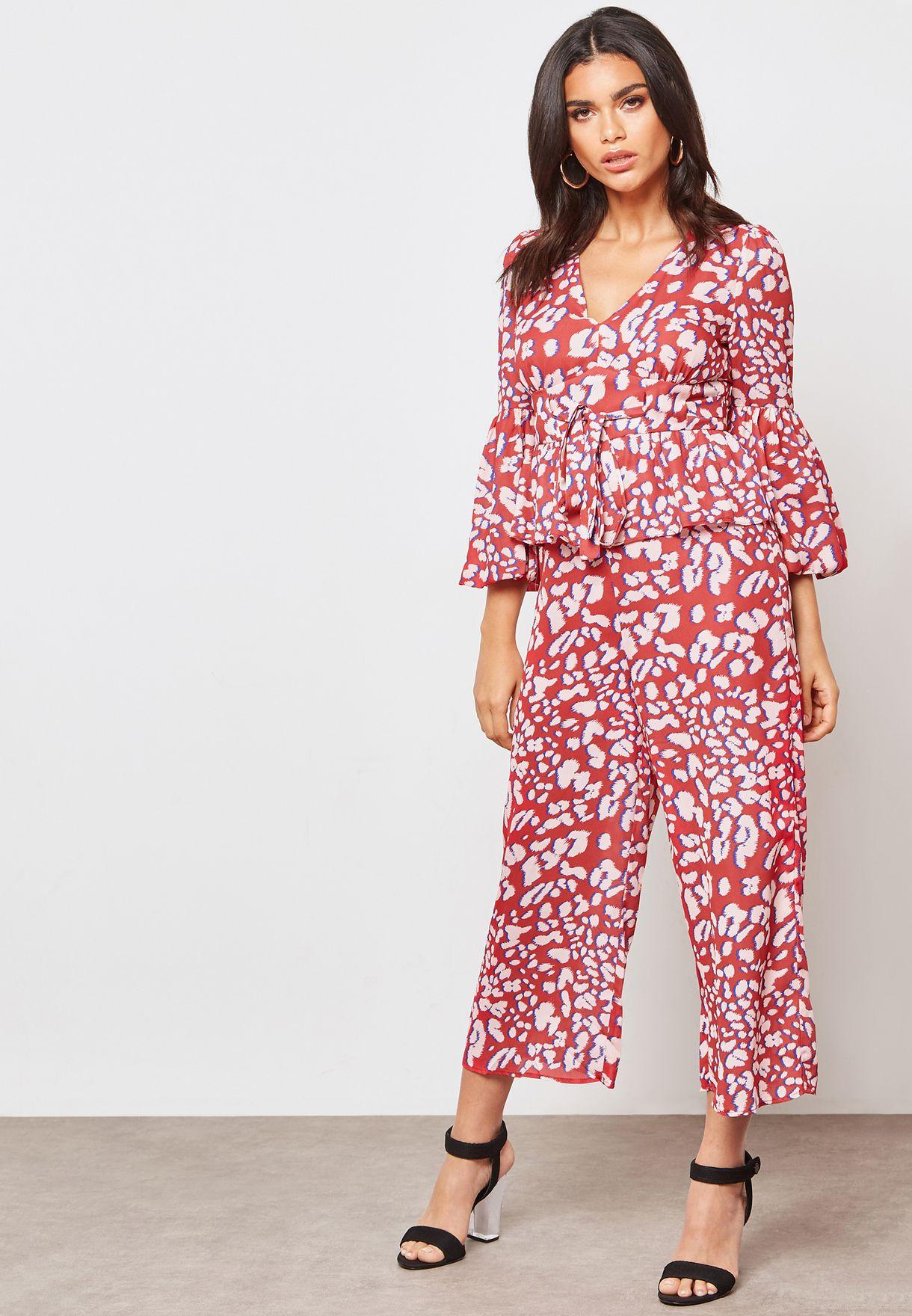 e9f581ef3861 Shop Lost Ink prints Leopard Print Culotte Jumpsuit 1101115150520057 ...
