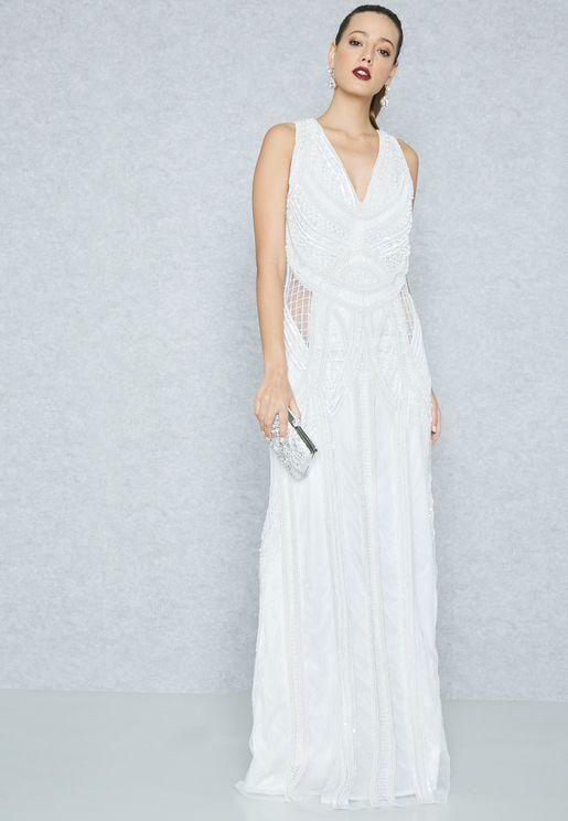 Embellished Sheer Detail Maxi Dress