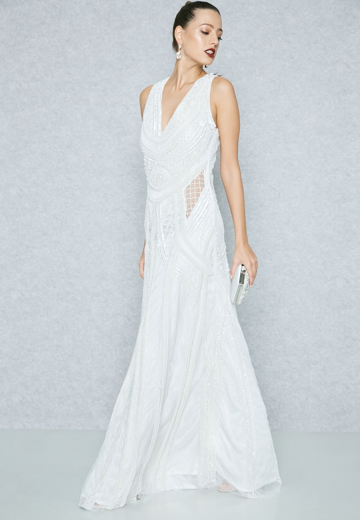 Embellished Sheer Detail Maxi Dress