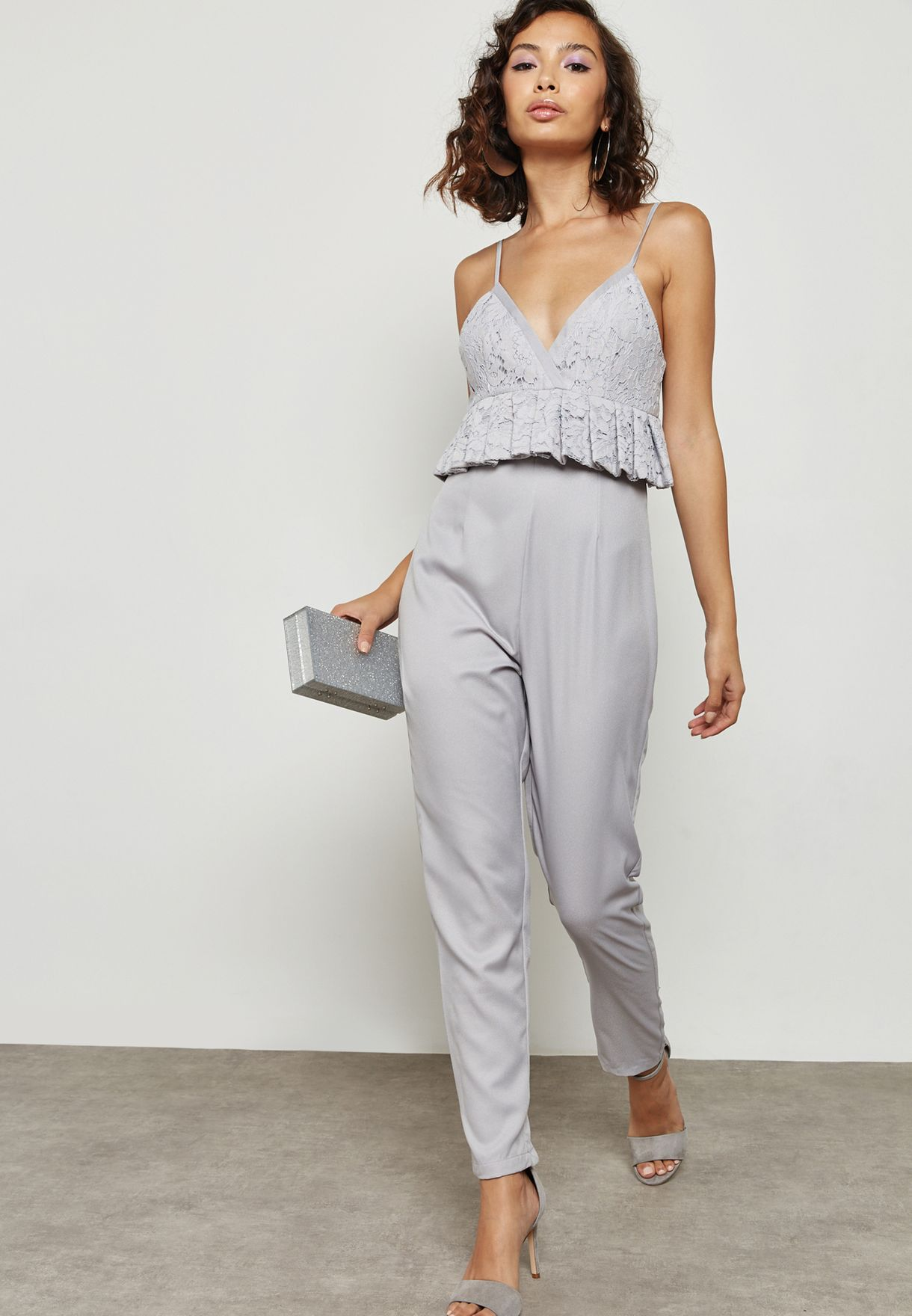 5eb181d7f9 Shop Missguided grey Peplum Lace Jumpsuit M9902210 for Women in UAE ...