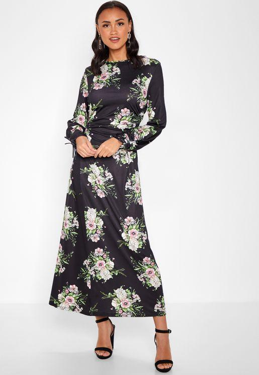 Floral Print Lace Yoke Ruffle Maxi Dress