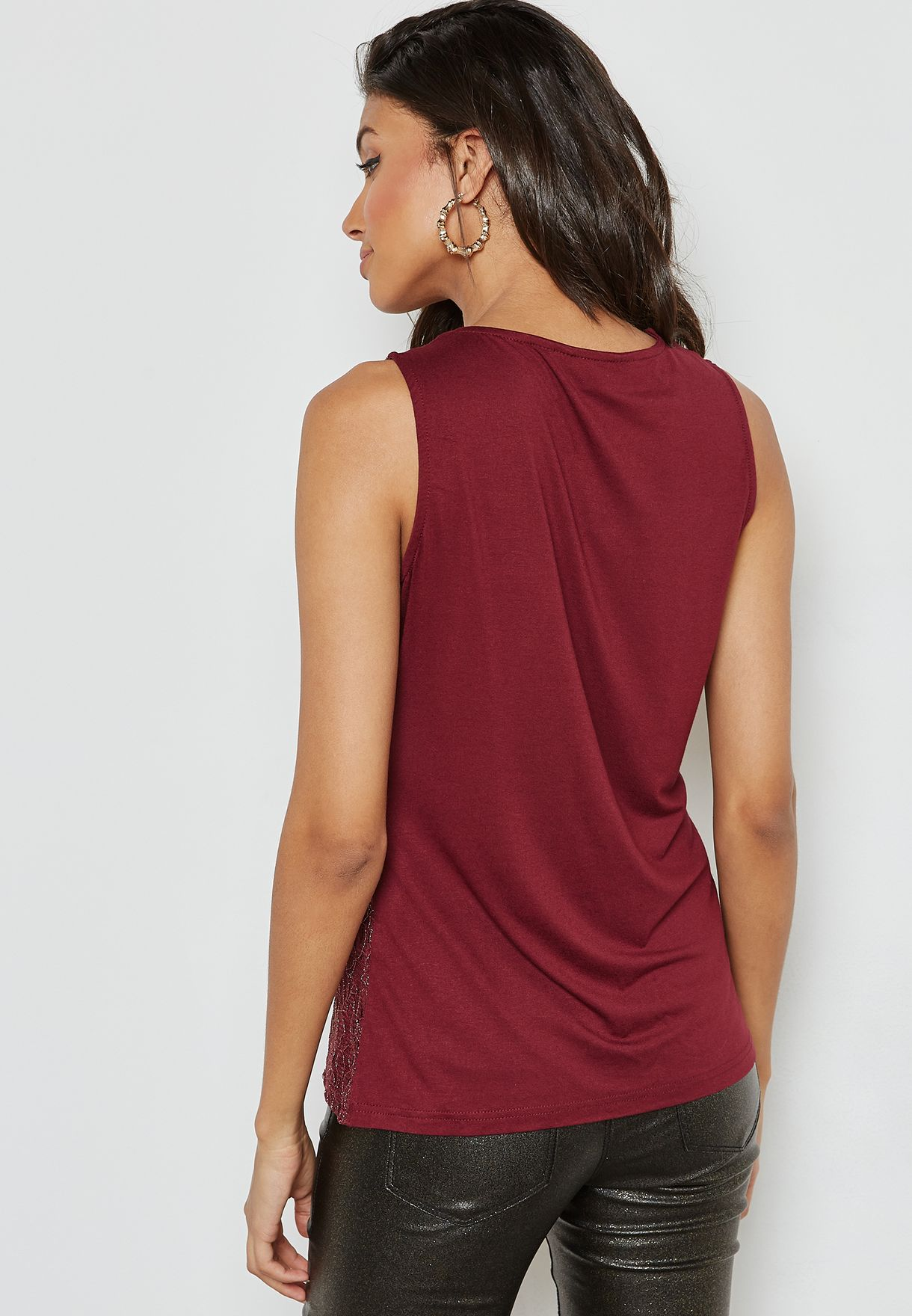 Sheer Detail Shell Top