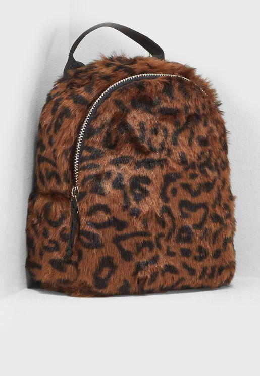Faux Fur Leopard Print Backpack