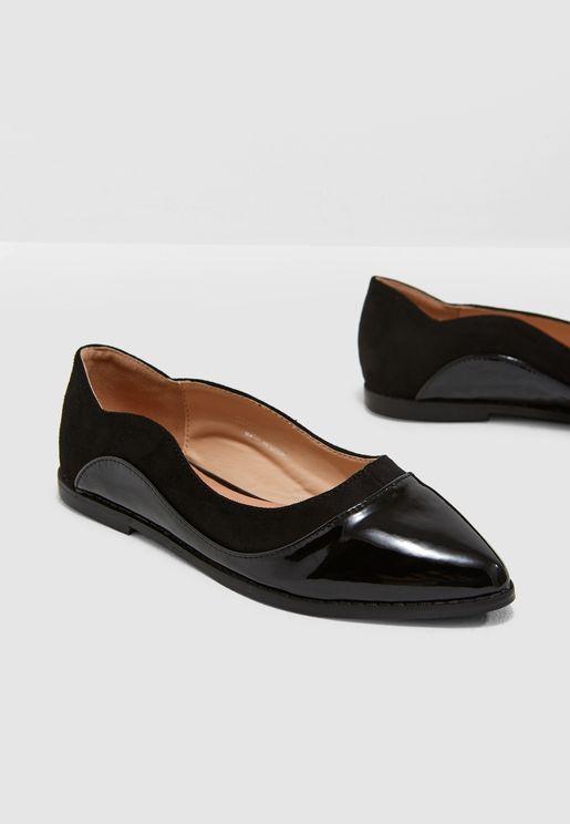 Olivia Mixed Material Flat Shoe