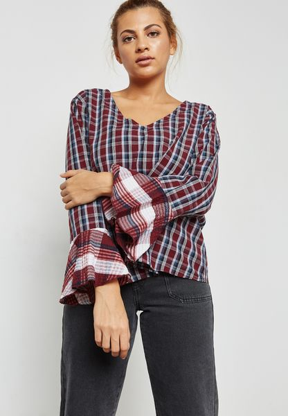 Flute Sleeve Checked Top