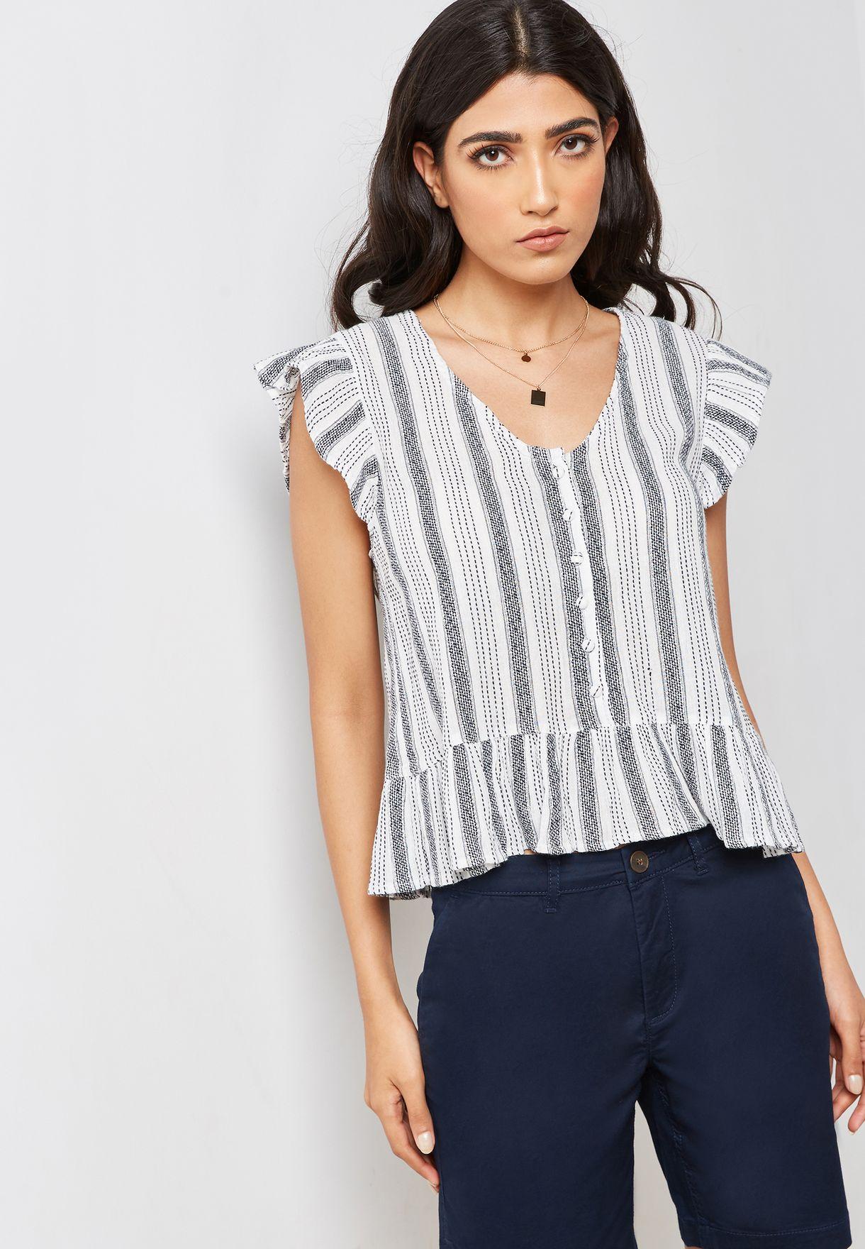 032c317299 Shop Mango monochrome Striped Ruffle Detail Top 43930524 for Women ...