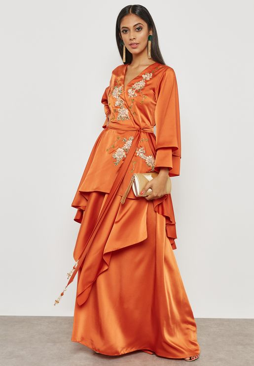 Embellished Self Tie Overlay Dress