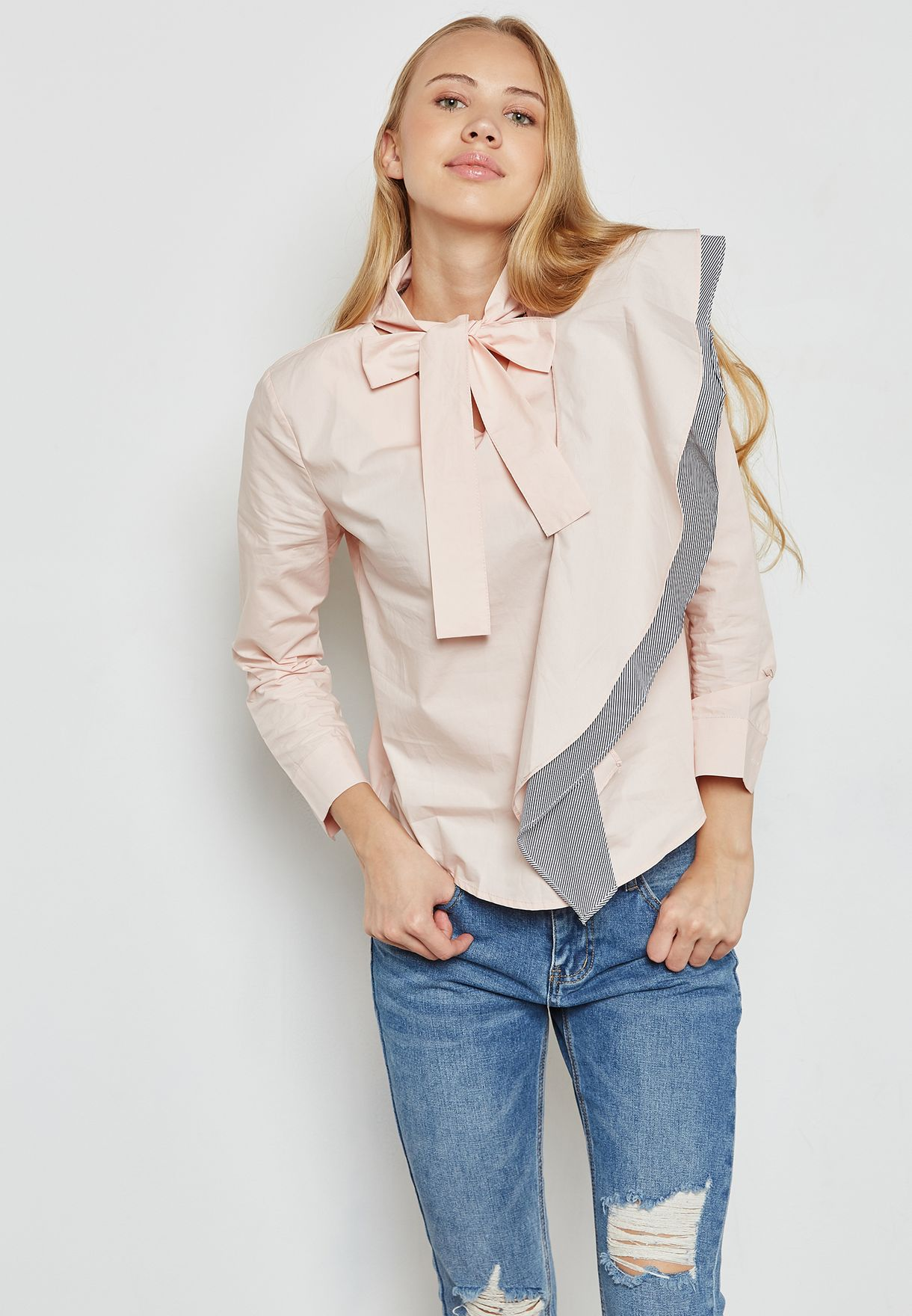 fe035a2dee588b Shop Ginger pink One Side Ruffle Tie Neck Top 2071  for Women in ...