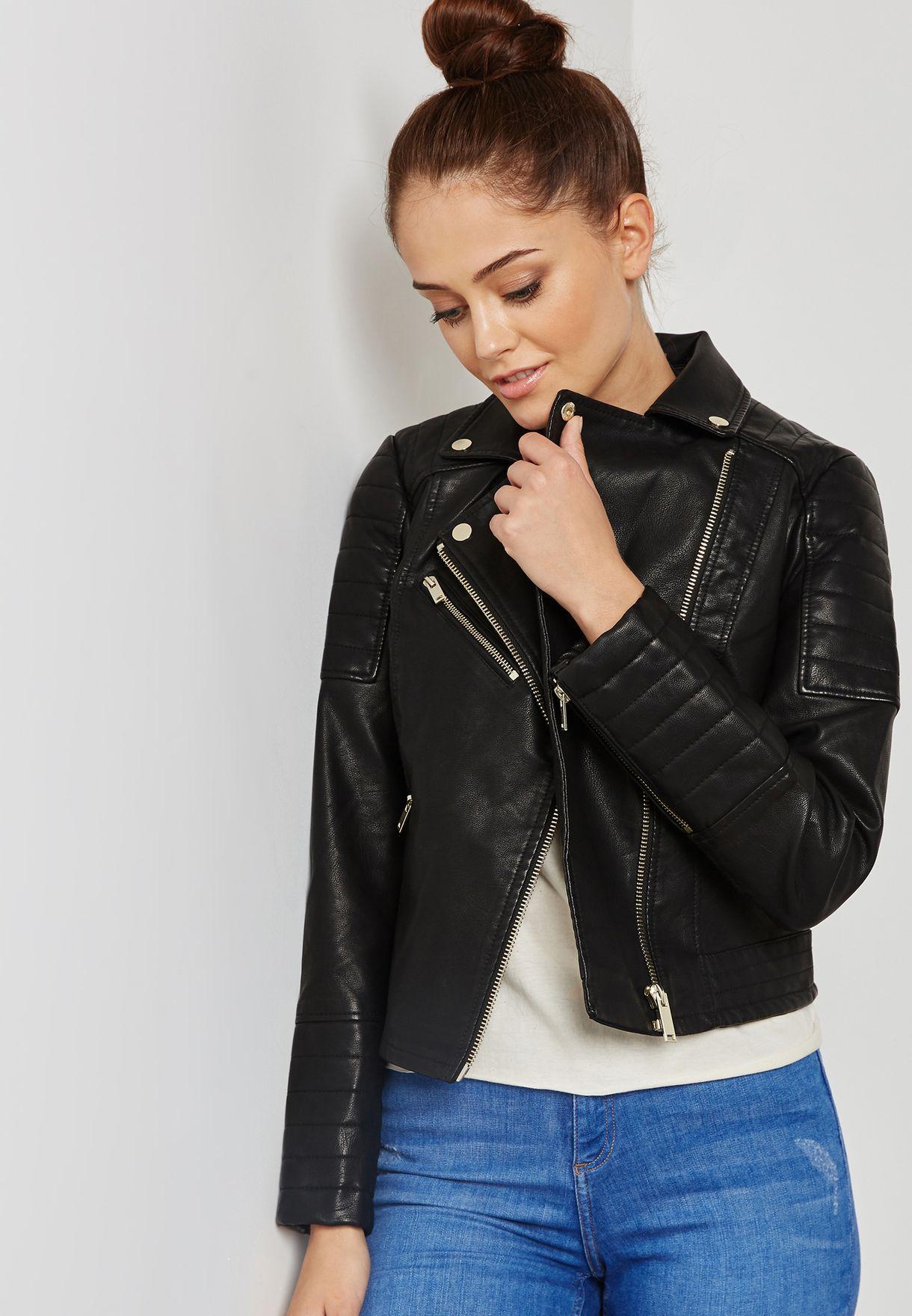 1497ddc5c8 Shop Miss Selfridge black PU Biker Jacket 44P07WBLK for Women in UAE ...