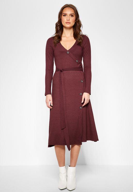 97c0a5cfb84 Button Detail Ribbed Dress. MANGO
