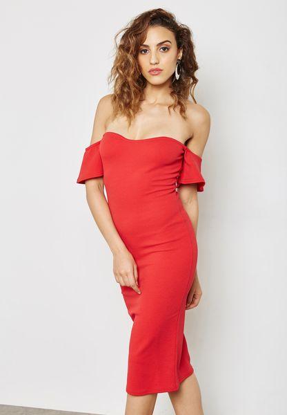 Bardot Bodycon Midi Dress Red