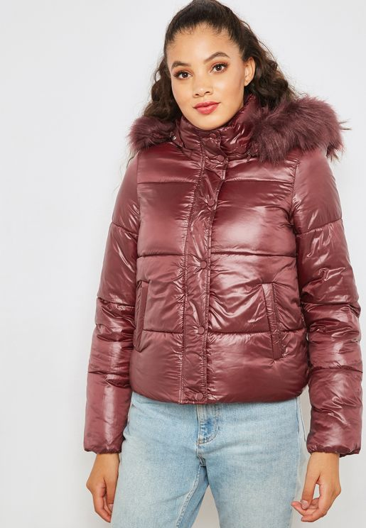 Faux Fur Metallic Quilted Jacket