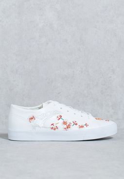 Floral Detail Embroidery Lace Ups