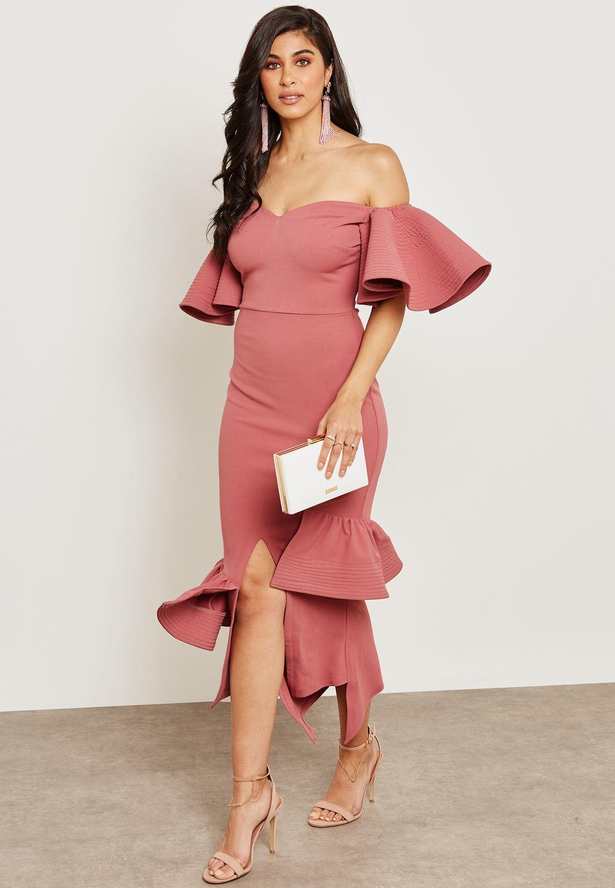 Bardot Ruffle Sleeves Dress