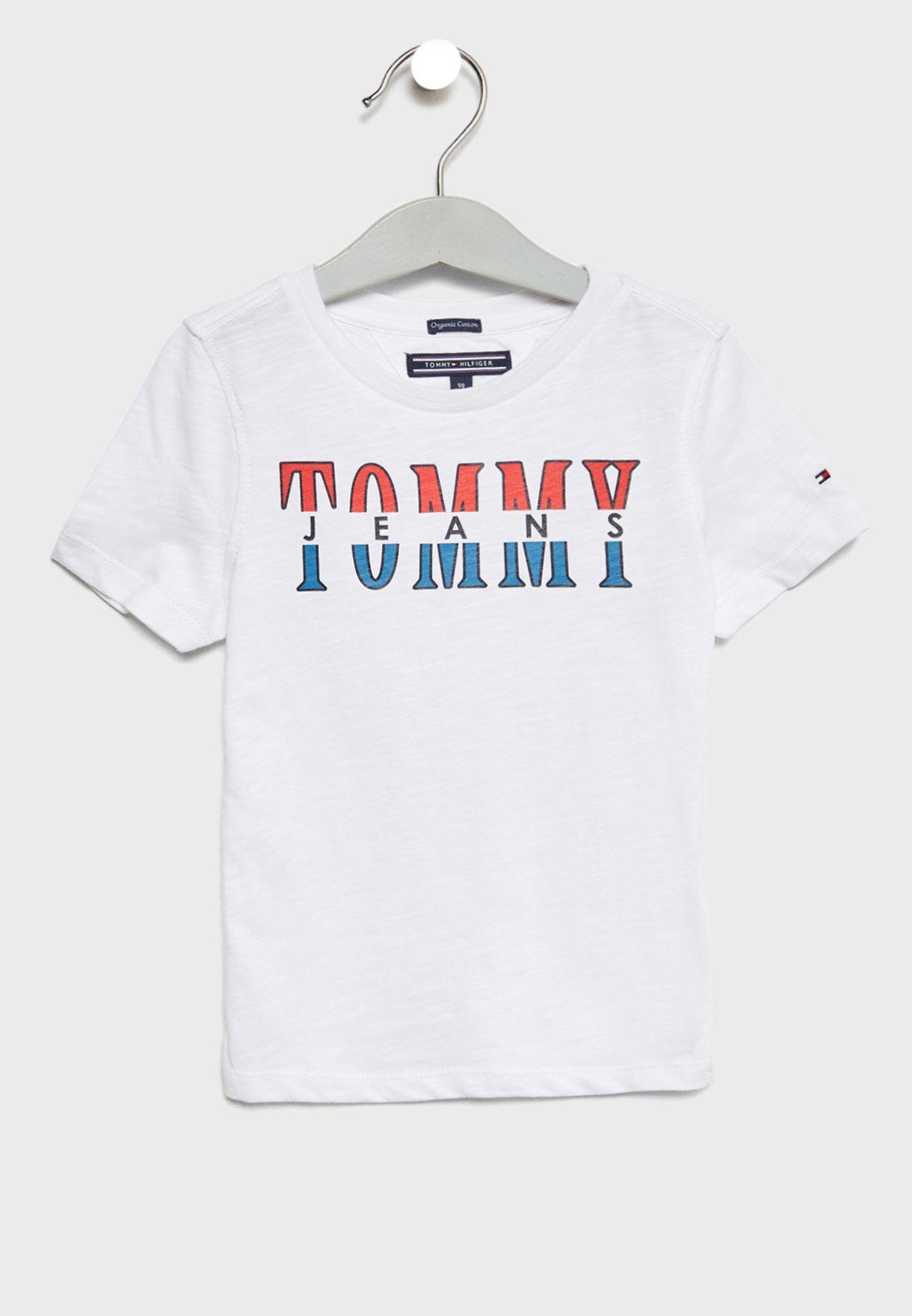 22f26b4c Shop Tommy Hilfiger white Little Graphic T-Shirt KB0KB04082 for Kids ...