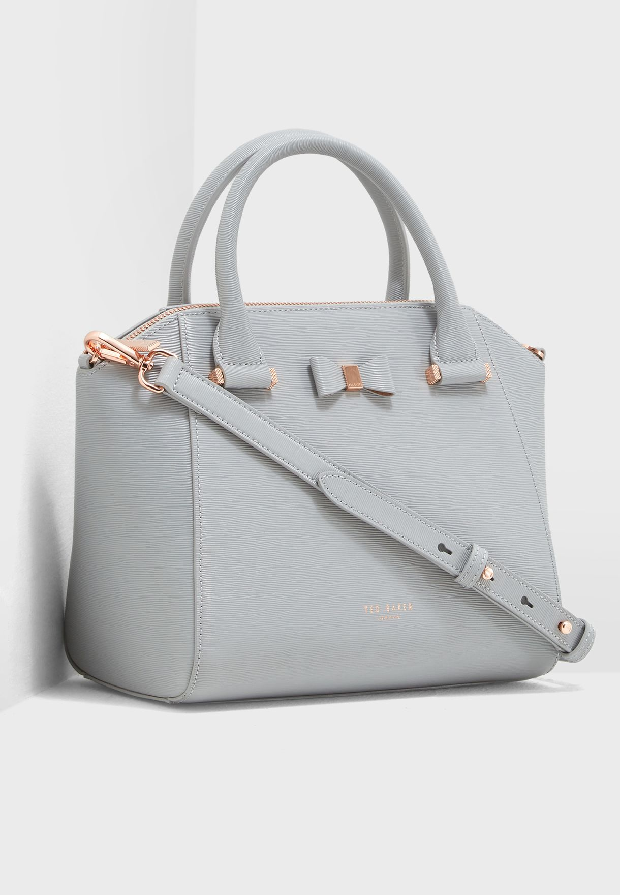 d9cb344255cf9 Shop Ted baker grey Bow detail small leather tote bag 149653 for ...