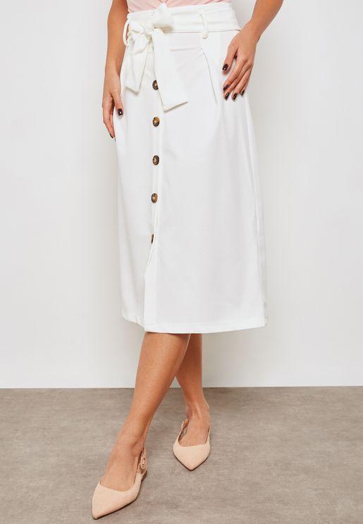 Button Down Self Tie Skirt