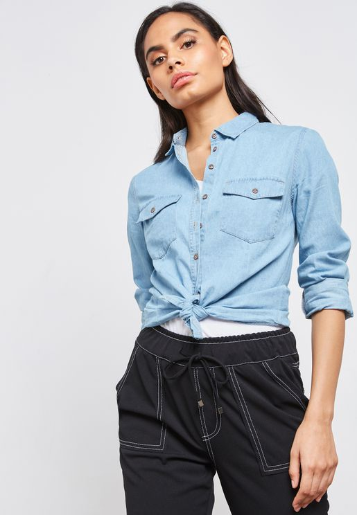 Pocket Detail Denim Shirt