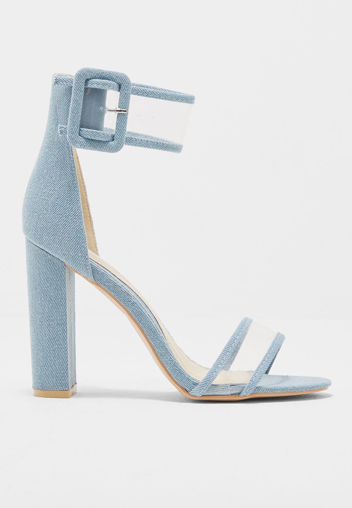 ea823c92cd0 Blue Denim Clear Ankle Strap Block Heels