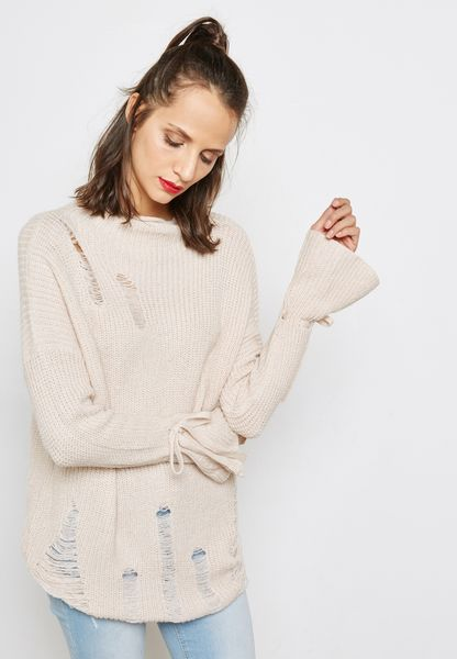 Bell Sleeve Distressed Sweater