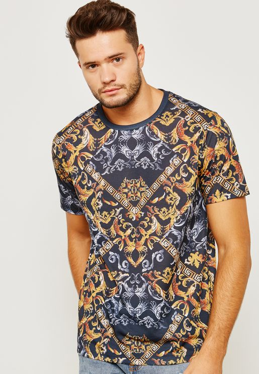 Black Baroque All-Over Pattern T-Shirt