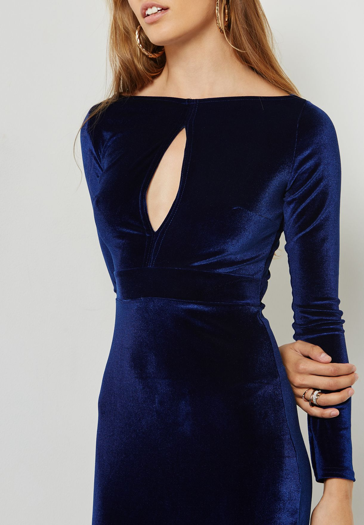 Keyhole Front Velvet Maxi Dress