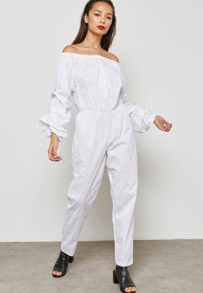 Puffed Sleeve Bardot Jumpsuit